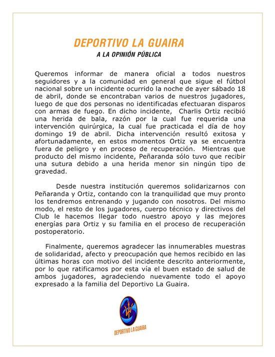 MSC Noticias - Comunicado-oficial-1 Agencias Com y Pub Deportes FC Dvto La Guaira Futbol Publicidad